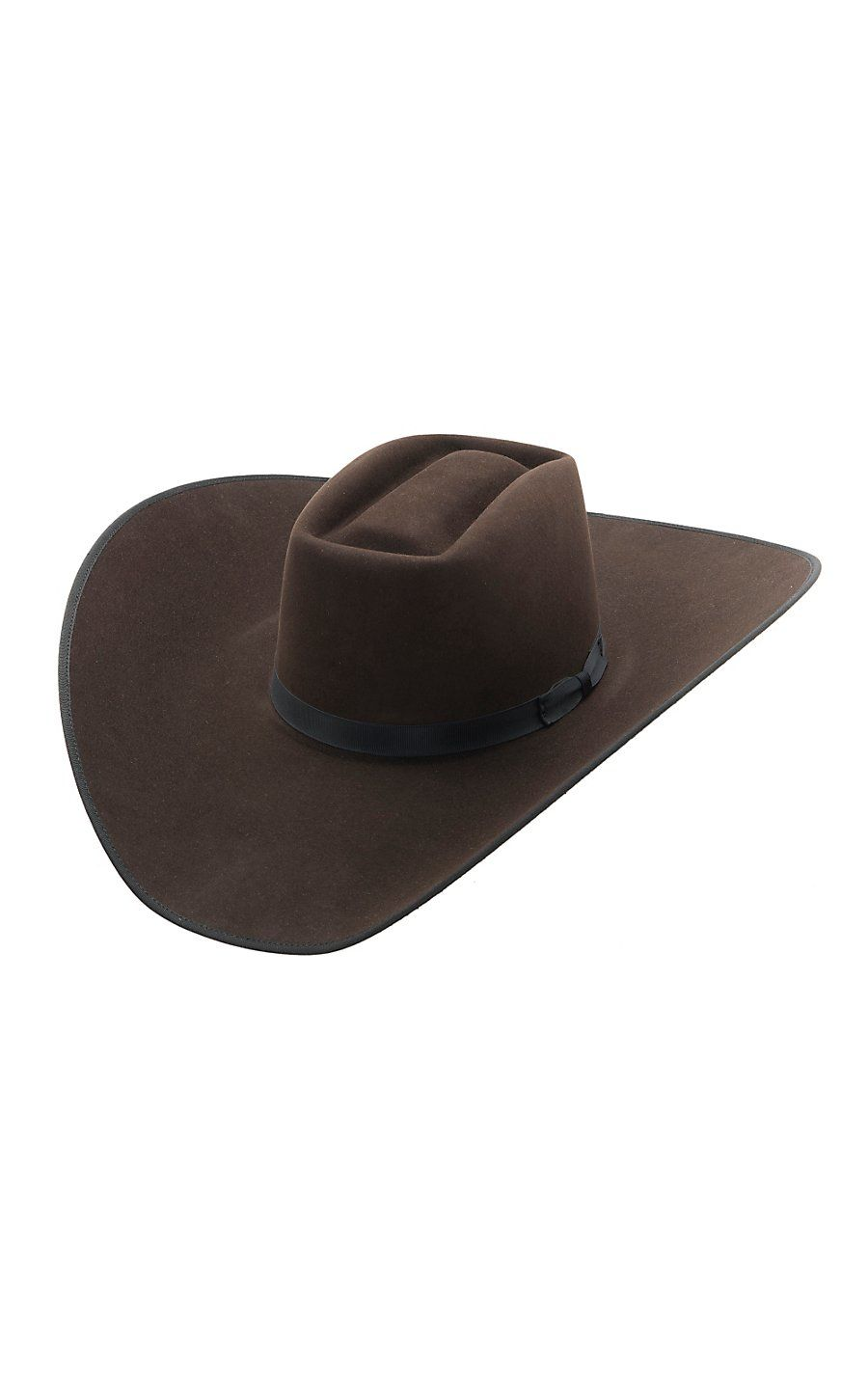 0867f6fefacd84 Rodeo King® 10X Brick Chocolate w/ Black Bound Edge Felt Cowboy Hat ...