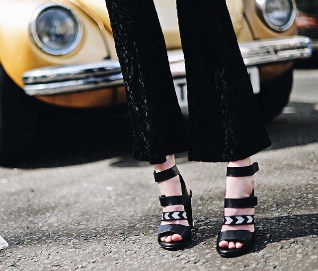 Miista Katlin Black & flare trousers  Available in our online shop #miista #miistashoes #flare #sandals