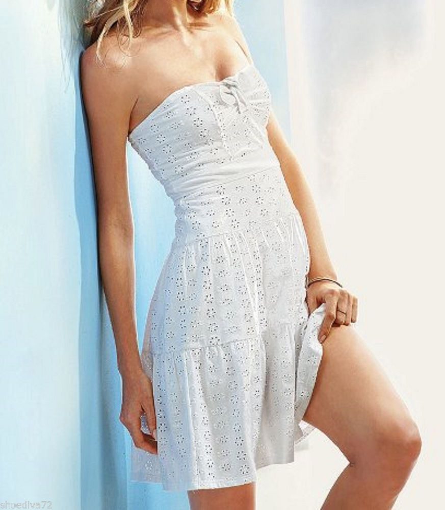 Victoria Secret Eyelet Tube Top Sundress White S 4 6 Bra Top Worn 2x Crochet White Dress Summer Bra Top Dress Dresses [ 1000 x 873 Pixel ]