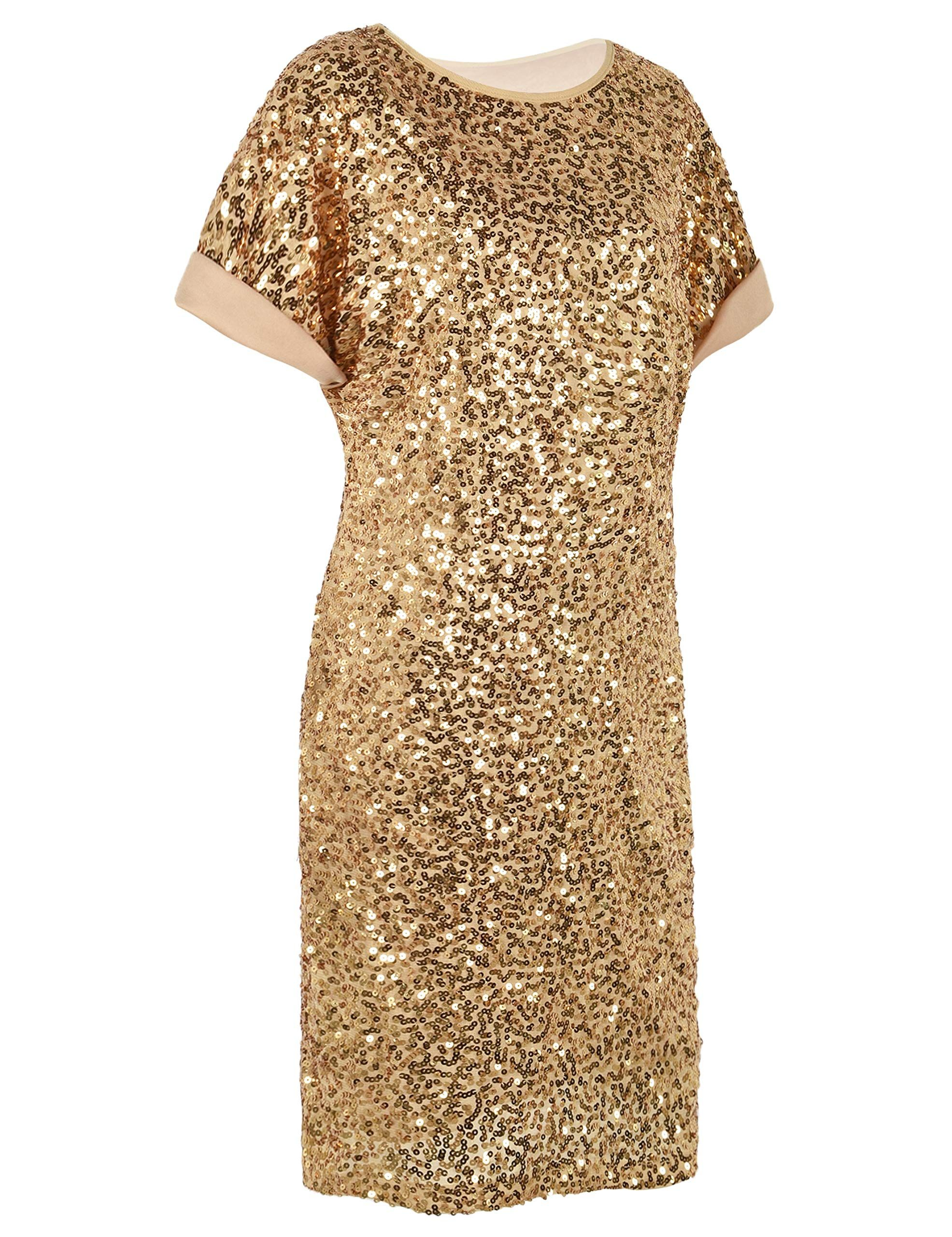 1889bd779361 PrettyGuide Women's Sequin Cocktail Dress Loose Glitter Short Sleeve Party  Tunic Dress S Gold #affiliate #glitter #dress