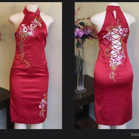 Karen Millen Red Dress 66% polyester 30% nylon 4% Elastane . Lining 95% polyester 5% elastane . Worn once in excellent condition. Karen Millen Dresses