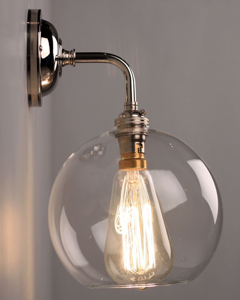 Contemporary wall light with clear hereford glass globe shade contemporary wall light with clear hereford glass globe shade aloadofball Gallery
