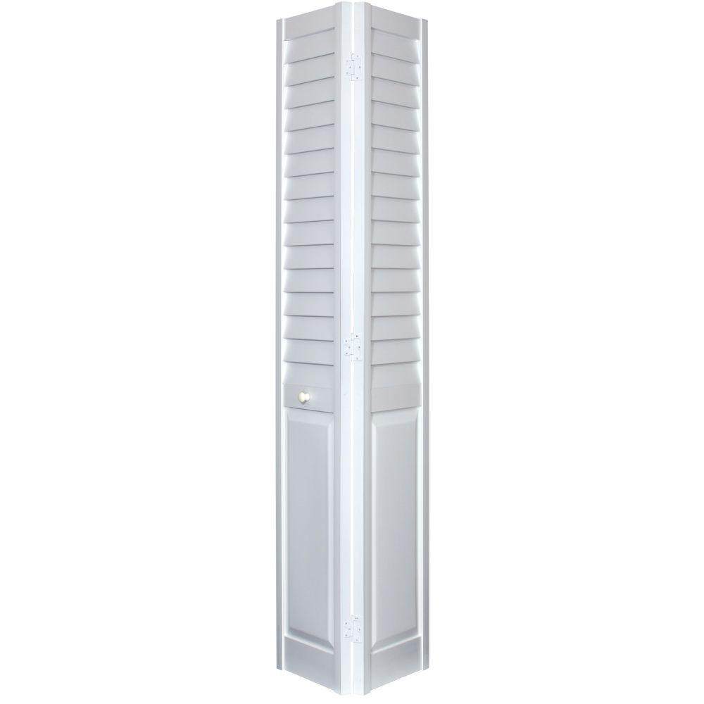 Louver/Panel White Composite Interior Bi Fold Closet   The Home Inch Odd  Sized Doors For Kateu0027s Room