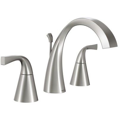 Oxby Spot Resist Brushed Nickel Two Handle High Arc Bathroom Faucet        Moen