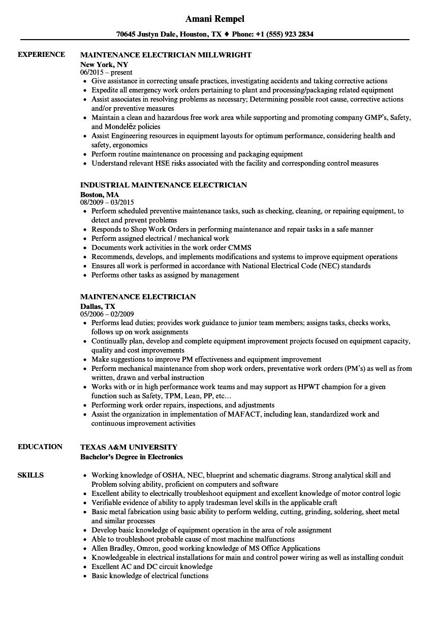 maintenance electrician resume samples in 2020 online cv format free download usmc professional template graphic artist sample