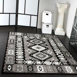 Tapis Oriental Classique Motif Poil Court Gris Noir Blanc 70x140 Cm