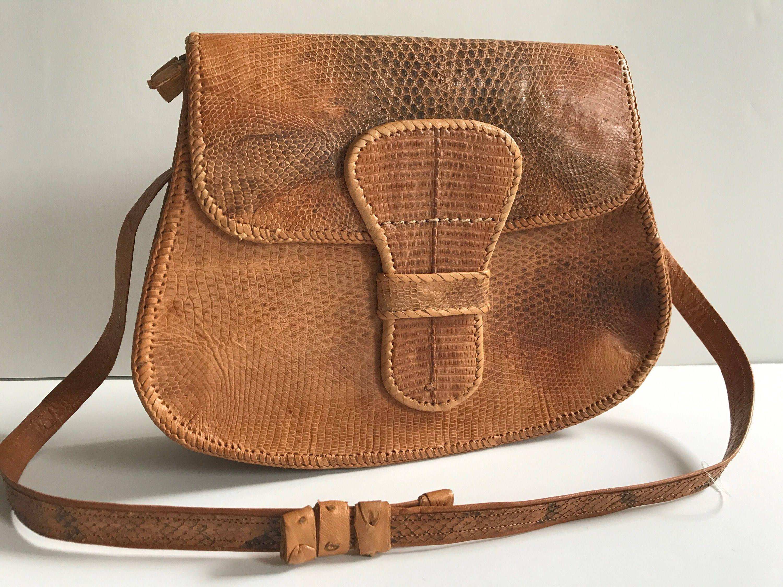 5a2cabe805 SNAKE Skin Leather Handbag Shoulder Bag Retro Boho Hippie Bag Light Tan by  BROCANTEBedStuy on Etsy