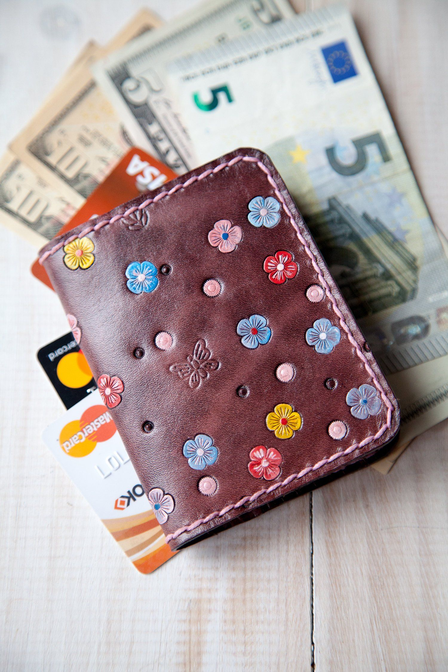 Womens Pocket Wallet Business Card Case Women Minimalist Wallet