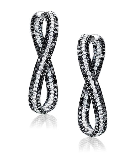 Rosamaria G Frangini | High Black Jewellery | Twist Black and White Diamond Hoops.