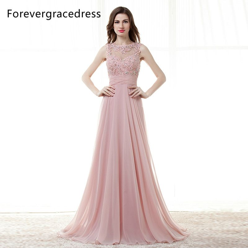 Forevergracedress High Quality Cheap Bridesmaid Dress New Arrival Long Open  Back Chiffon Applique Wedding Party Dress 9b1582e91118
