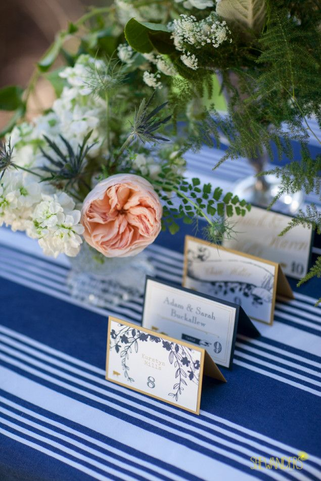 navy place setting cards
