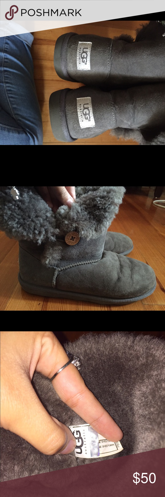 Short Grey Bailey Button UGGS Worn, still has some life left. Right boot folds down. Slight creases. UGG Shoes Winter & Rain Boots
