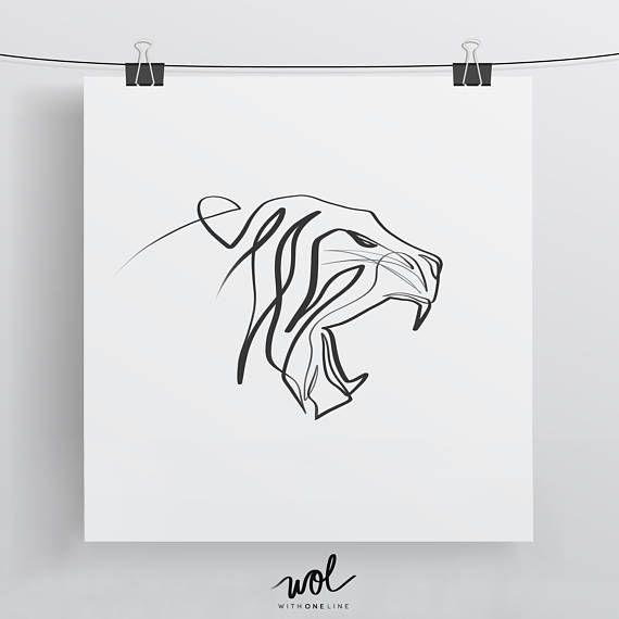 Image Result For Single Line Tiger Tattoo Geometric Tiger Tattoo Tiger Art Cat Art Print