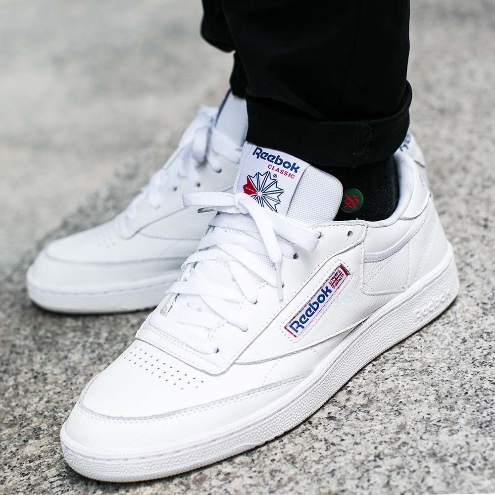 6a44fffed7cb Reebok Club C 85 Men Shoes SO White Vital Blue Leather Sneakers Sport  BS5214  Reebok  RunningCrossTraining