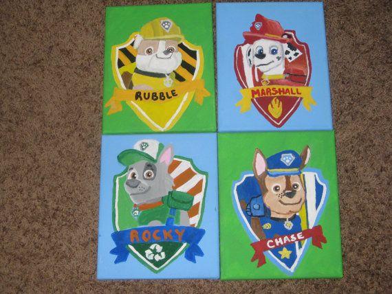 Paw Patrol Set Of 4 Canvas Paintings Rocky Rubble Marshall Chase 4 Canvas Paintings Canvas Painting Paw Patrol
