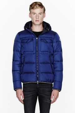 cf284fdc1 MONCLER Navy blue quilted down Thomas jacket on shopstyle.com ...