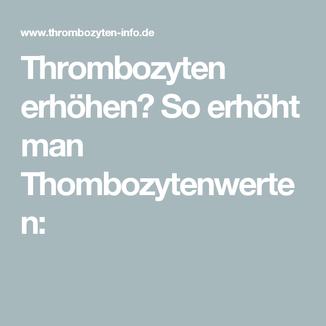 Thrombozyten-erhöhende Diät