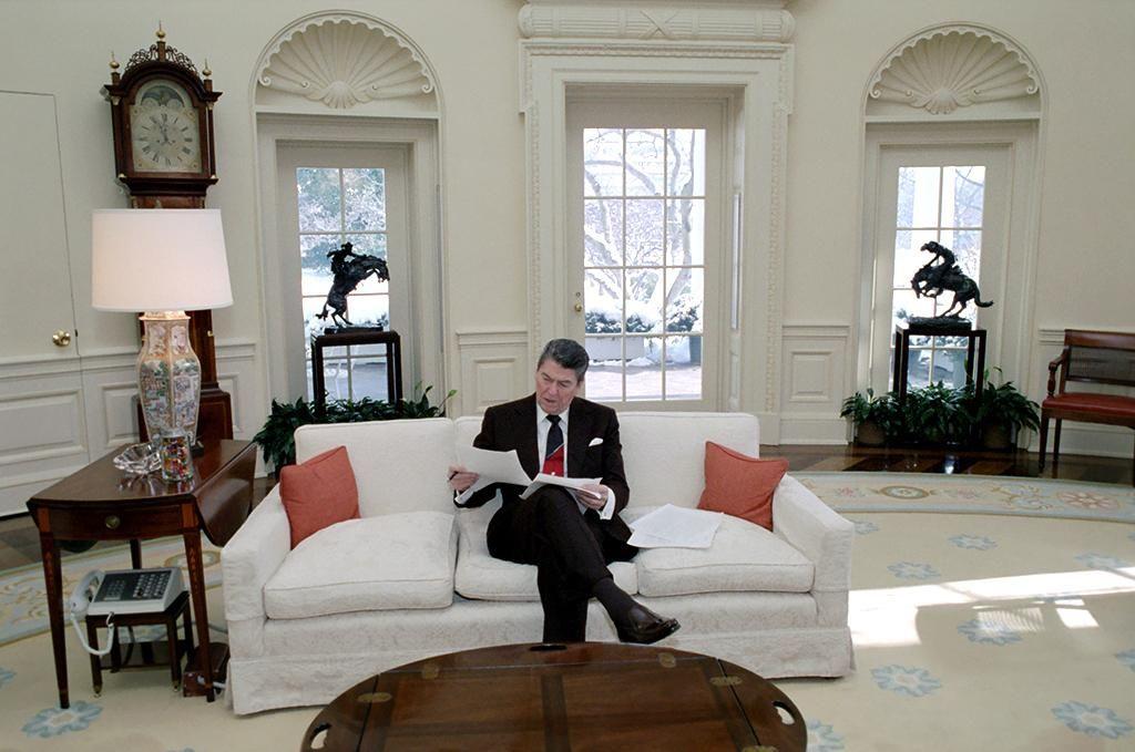 Preparing a speech. Ronald Reagan