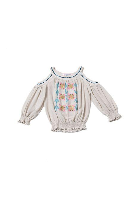Blusa bordada con hombros al aire - 163,00€ : Zaitegui - Moda y ropa de marca para señora en Encartaciones
