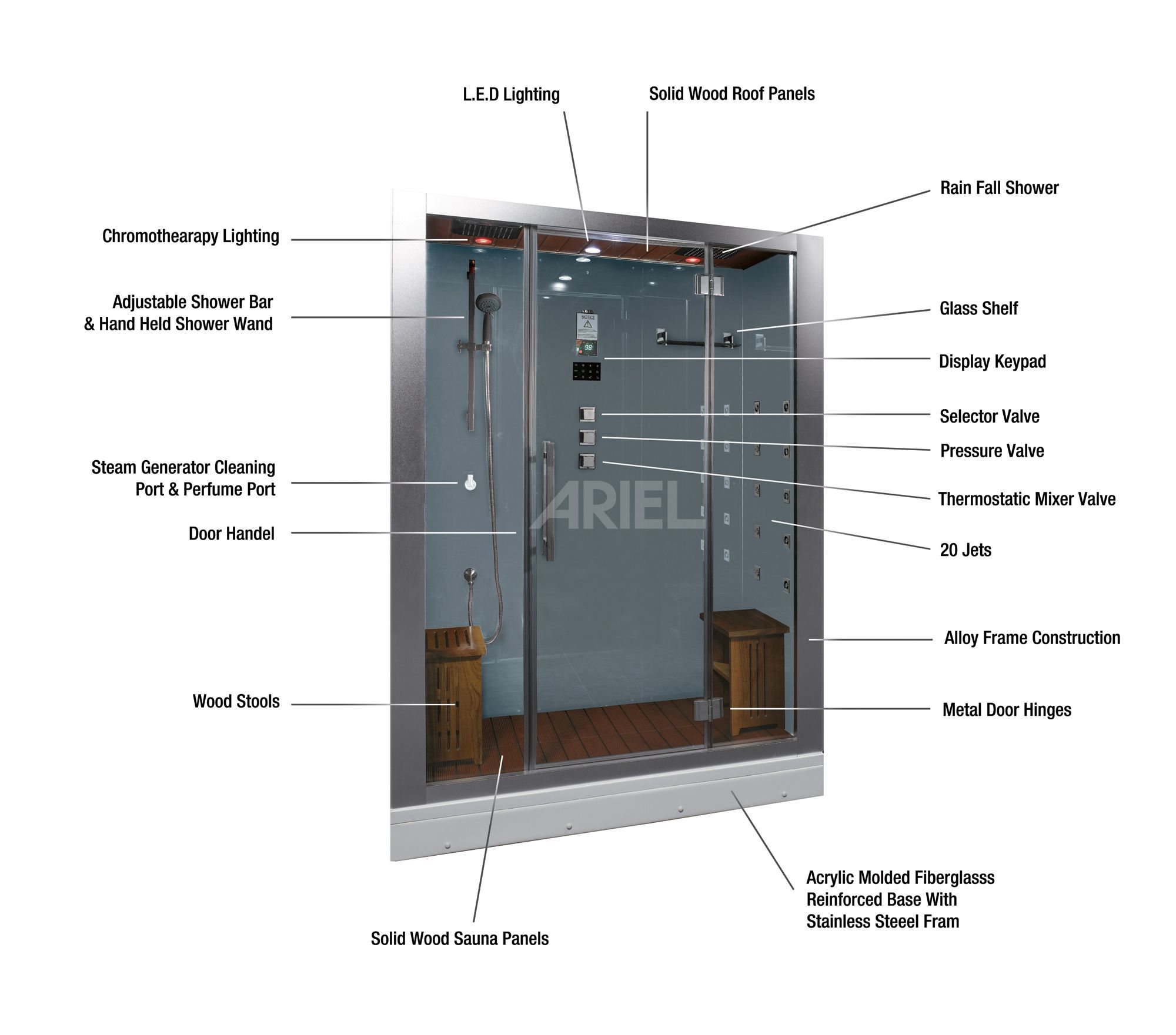 Ariel Platinum Dz972f8 Steam Shower Unit Is Complete With A Steam