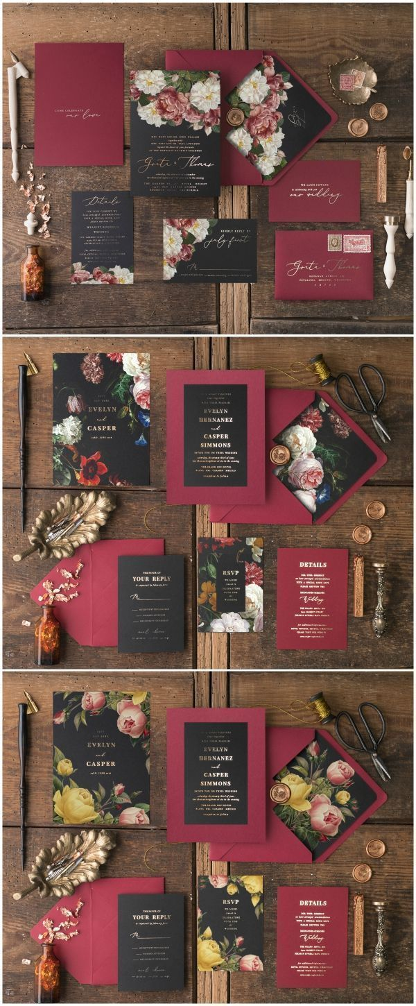 Beautiful vintage flowers wedding invitations with gold foil ...