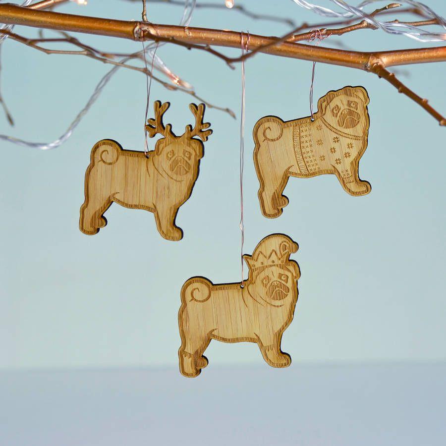 Christmas Pug Bamboo Tree Decoration Pugs Christmas Tree