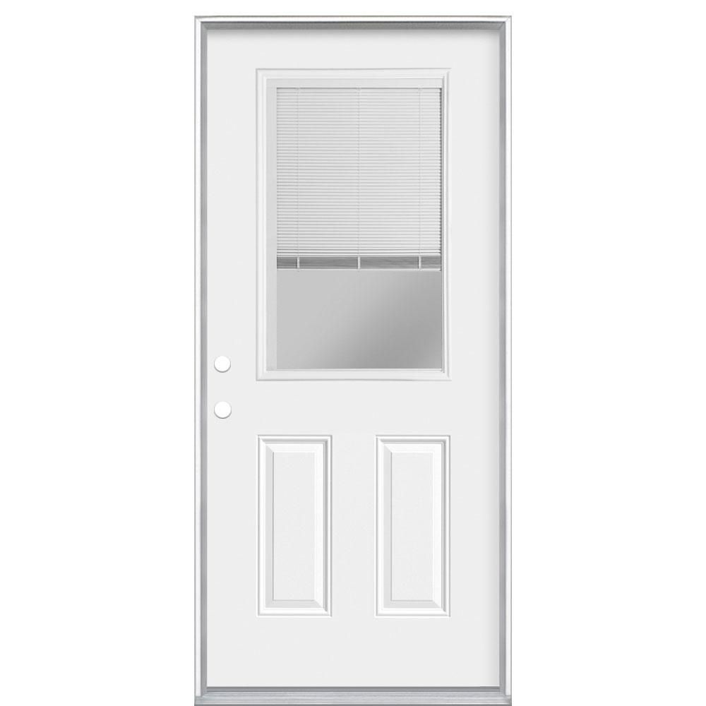 Masonite 36 In X 80 In Premium Clear 1 2 Lite Mini Blind Right Hand Inswing Primed Steel Prehung Front Exterior Door 84567 The Home Depot In 2020 Mini Blinds Exterior Front Doors Blinds