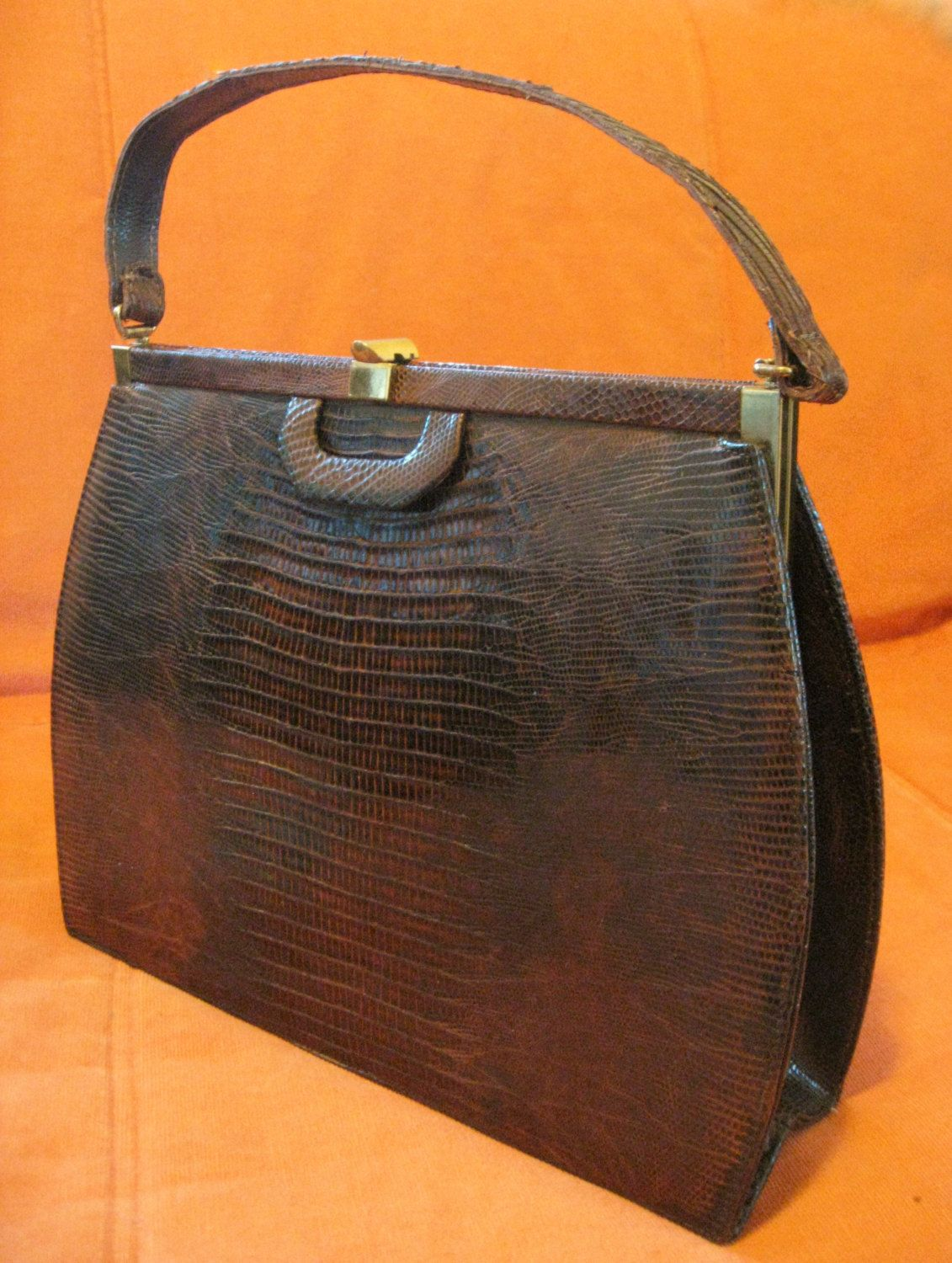 bd9f5edb3722 50s Lizard Alligator Palizzio New York Brown Leather Mad Men Handbag Coin  Purse Reptile Exotic Skin Tote Grace Kelly Bag Brown Leather brass by ...