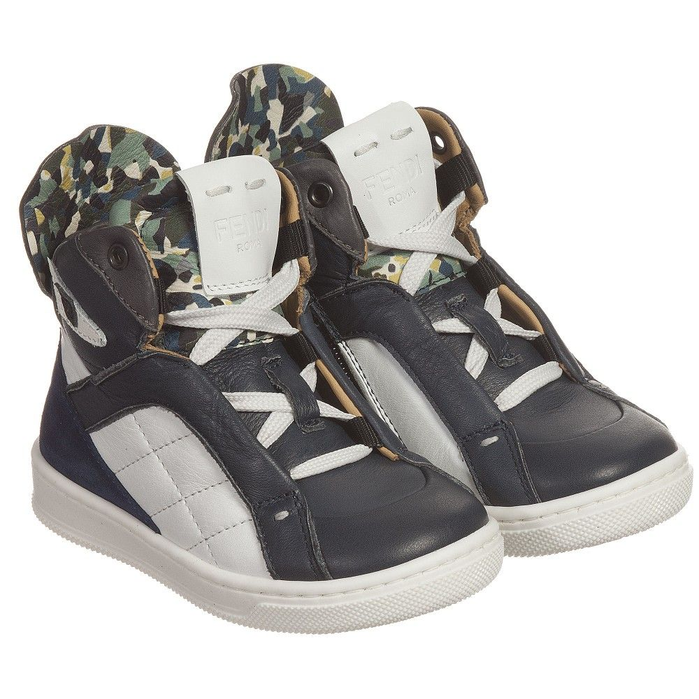 Fendi Baby Boys Leather High-Top Trainers at Childrensalon.com