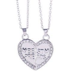 Hot 2pcs Set diamante heart friendship bff necklace best friends