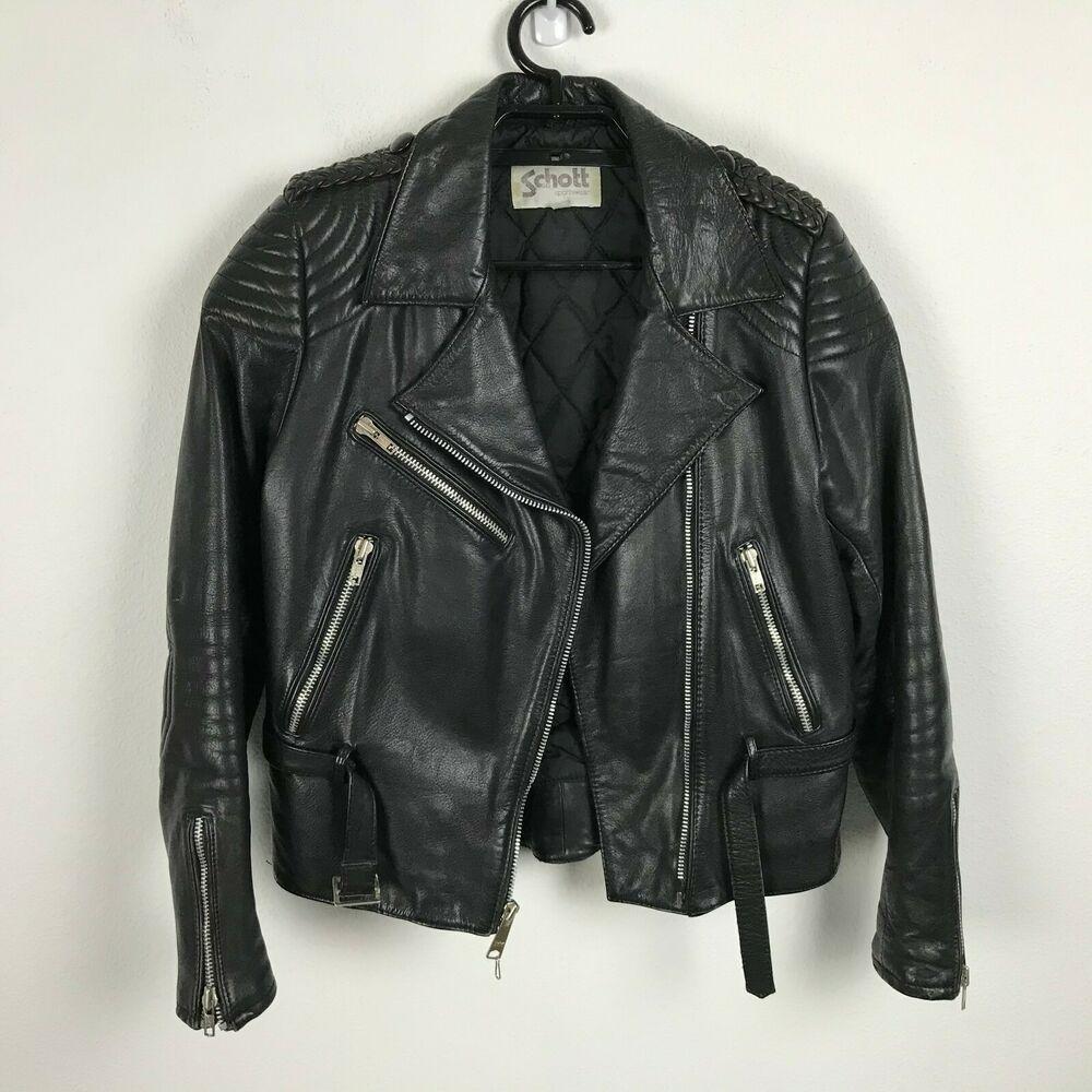 Schott Sportswear Leather Motorcycle Jacket Size 12 Black Braided Lapels Womens Schott Motorcyclejacket Leather Motorcycle Jacket Jackets Sportswear [ 1000 x 1000 Pixel ]