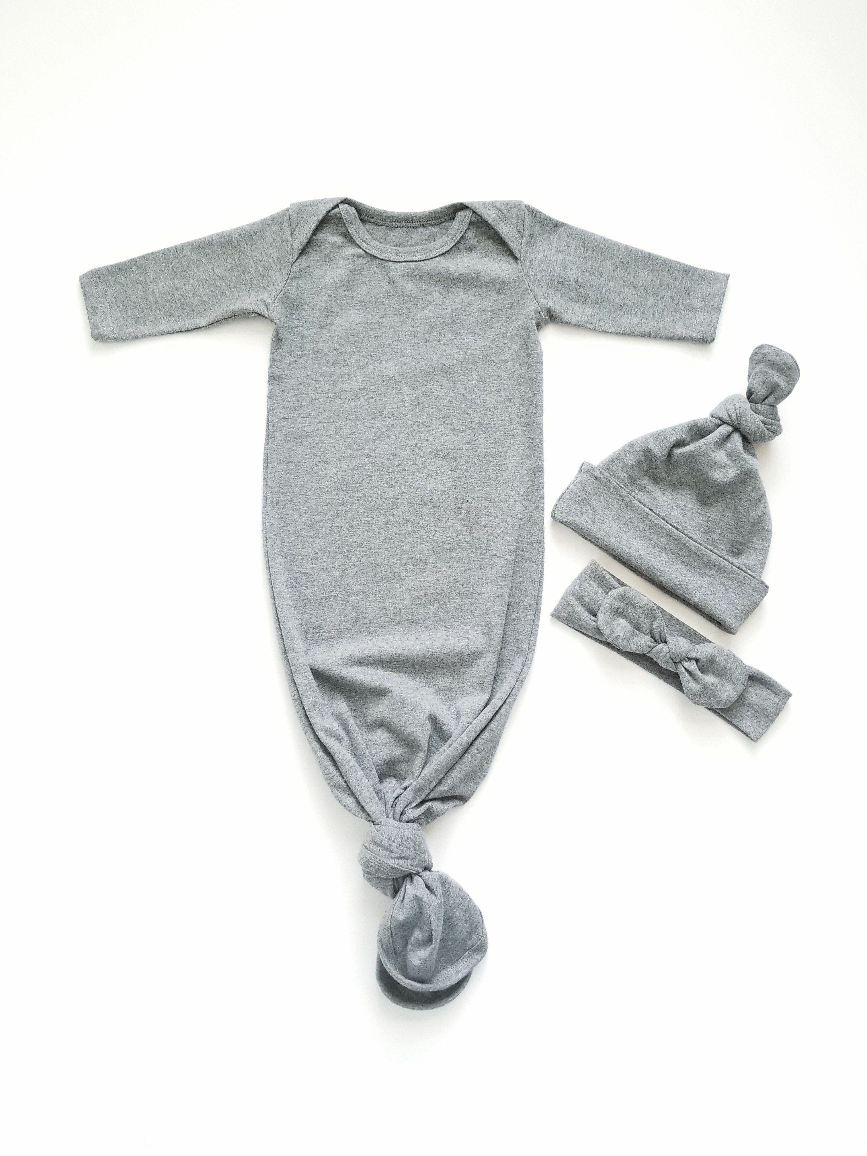 4731c915b Heather Grey Newborn Knotted Gown Unisex Coming Home Outfit Girl Boy ...