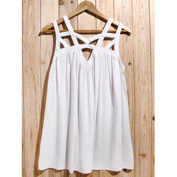 Cute White Cut Out Sleeveless Pleated Mini Dress For Women | TwinkleDeals.com