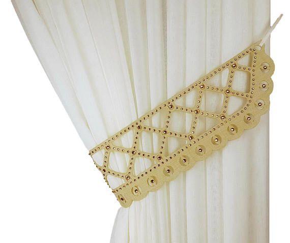 Rhinestones Tie Back Curtain Tiebacks Beige Color Topaz Laser