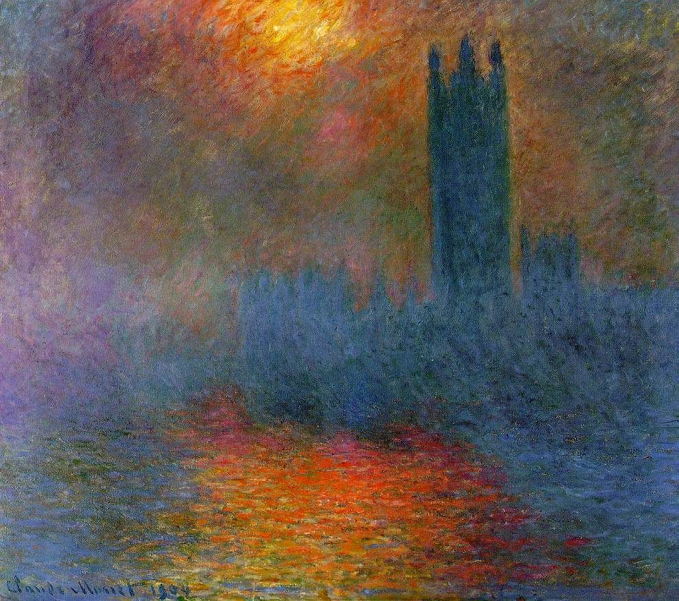 Monet - one of his paintings of the UK Parliament (with evident sun and smog)