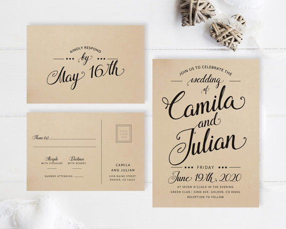 cheap wedding invitation packages kraft wedding invitation printed
