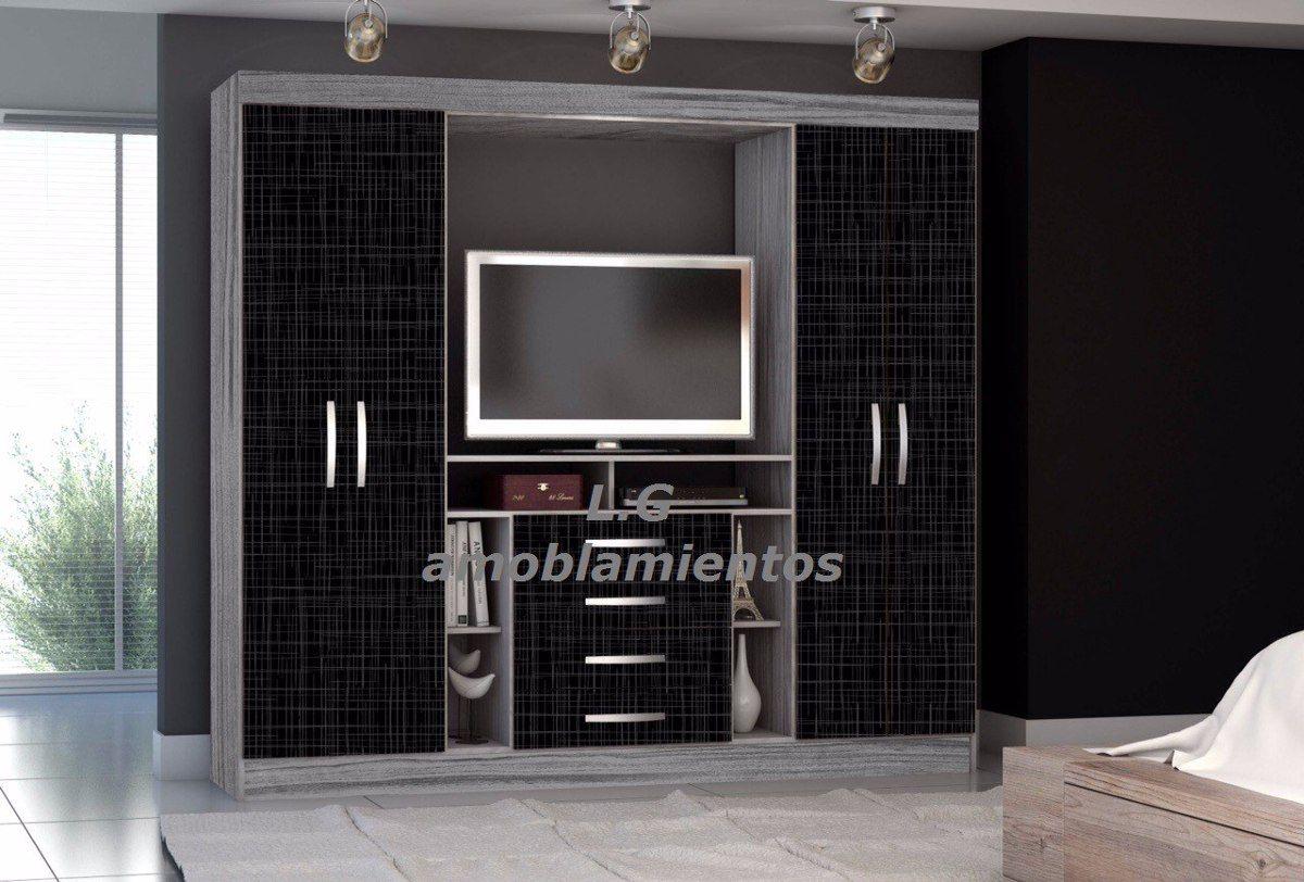 Placard ropero 4 puertas espacio para tv y cajones for Roperos para habitaciones pequenas