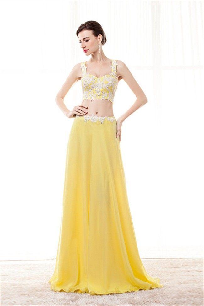 19a9d06aea6c Sheath Sweetheart Two Piece Yellow Chiffon Embroidery Beaded Prom Dress