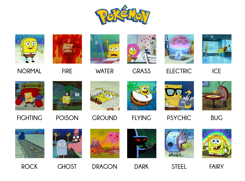 pokémon types vs spongebob pokemon pinterest spongebob