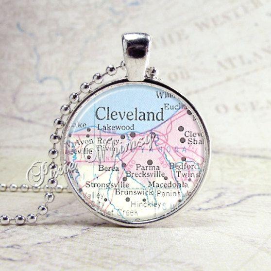CLEVELAND OHIO MAP Necklace, Ohio Pendant, Ohio Jewelry, Ohio ...