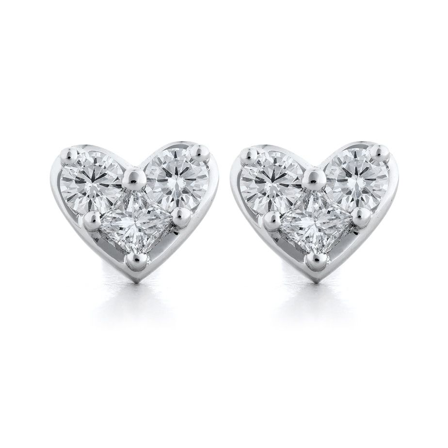 Heartshaped Stud Earrings  White Gold Heart Stud Setting With 127 Total  Carat Weight