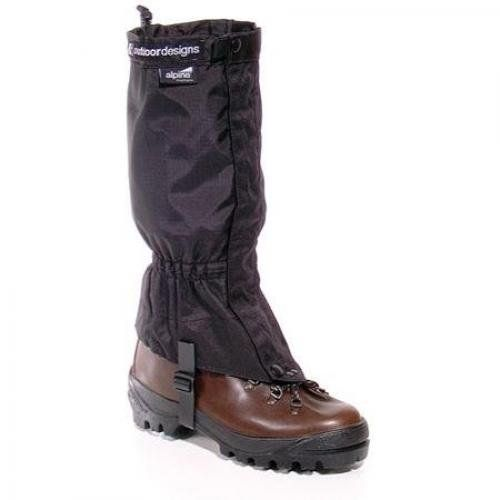 Outdoor Designs Alpine Gaiters Black/Small. Front opening gaiter in 3-layer waterproof. breathable fabric.