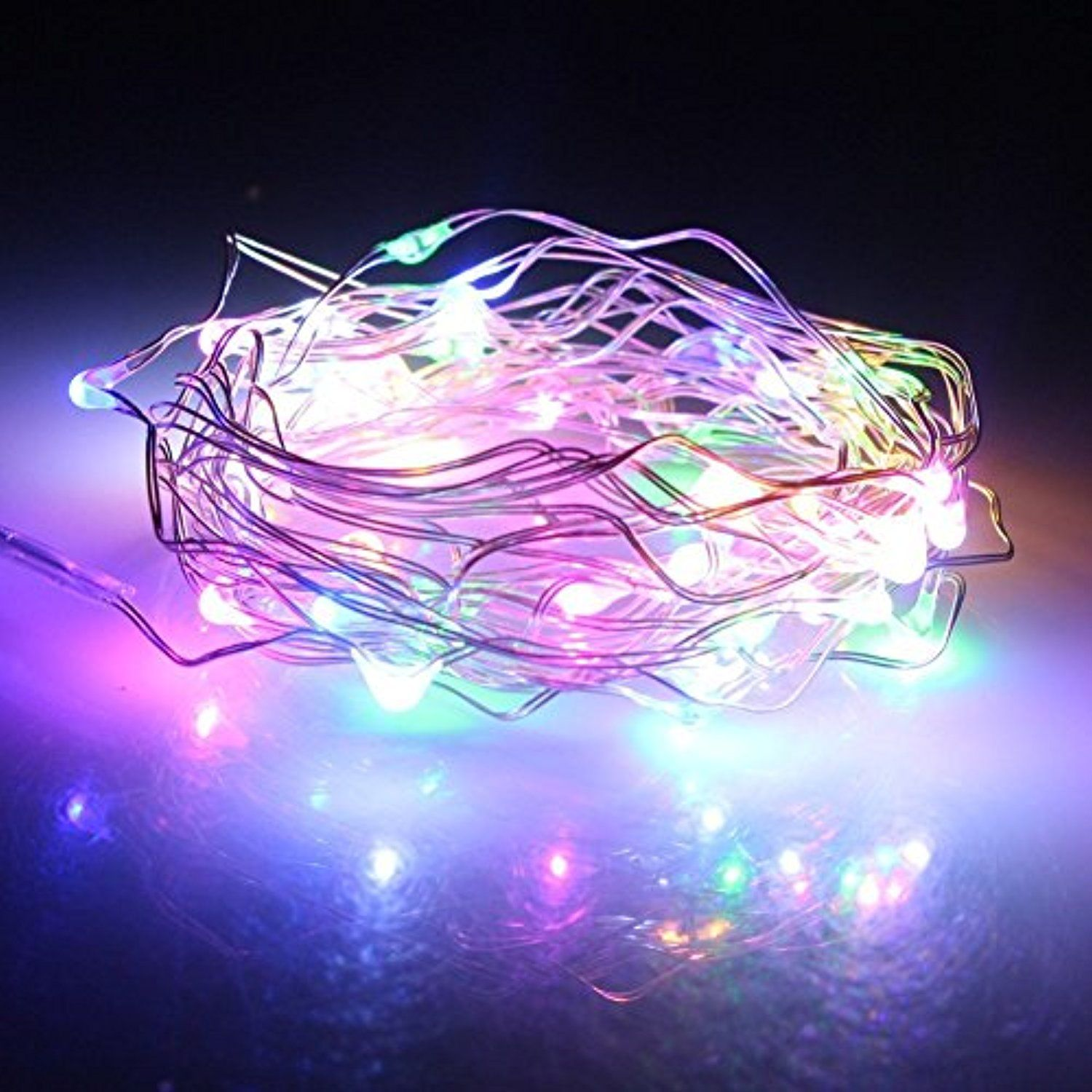 Multi Colored Starry Fairy Lights Copper Led Lights Strings Battery Powered 5m 50le Outdoor Christmas Lights Halloween Outdoor Decorations Led Christmas Lights