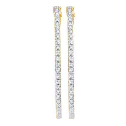 10k Yellow Gold 1.00Ctw Diamond Fashion Hoop Earrings