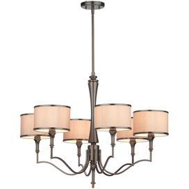 """Curved metal chandelier with an oil-rubbed bronze finish and silk shades.    Product: Chandelier   Construction Material: Metal and silk   Color: Oil-rubbed bronze   Features:Wire length: 120""""Six shades Accommodates: (6) 60 Watt G16.5 bulbs - not included      Dimensions: 23.5-74"""" H x 30.5"""" Diameter"""