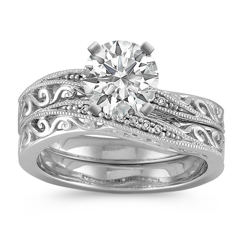 Vintage Diamond Curved Wedding Set Vintage diamond