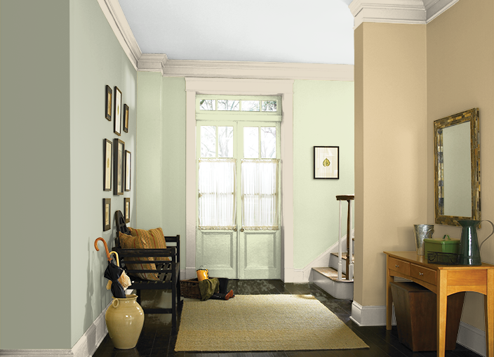 This Is The Project I Created On Behr Com I Used These Colors Ripe Wheat 310e 3 Pale Celery Ppu9 16 R Living Room Colors Living Room Grey Room Paint Colors