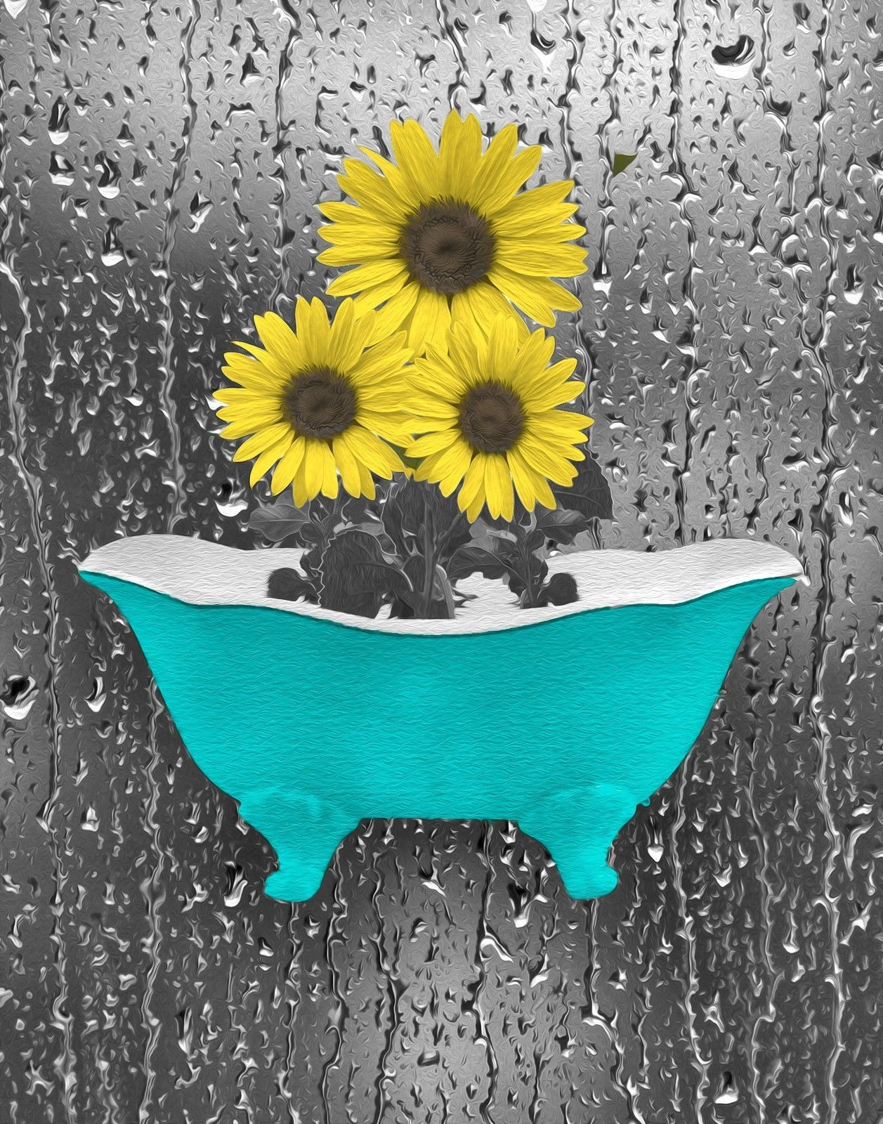 Teal Yellow Sunflowers Modern Bathroom Bedroom Matted Artwork Home