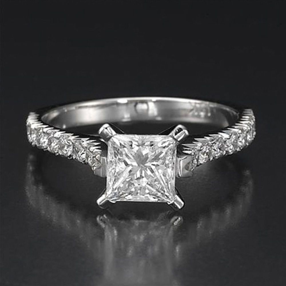 2 CT Princess CUT DIAMOND SOLITAIRE ENGAGEMENT RING 14K WHITE GOLD ENHANCED