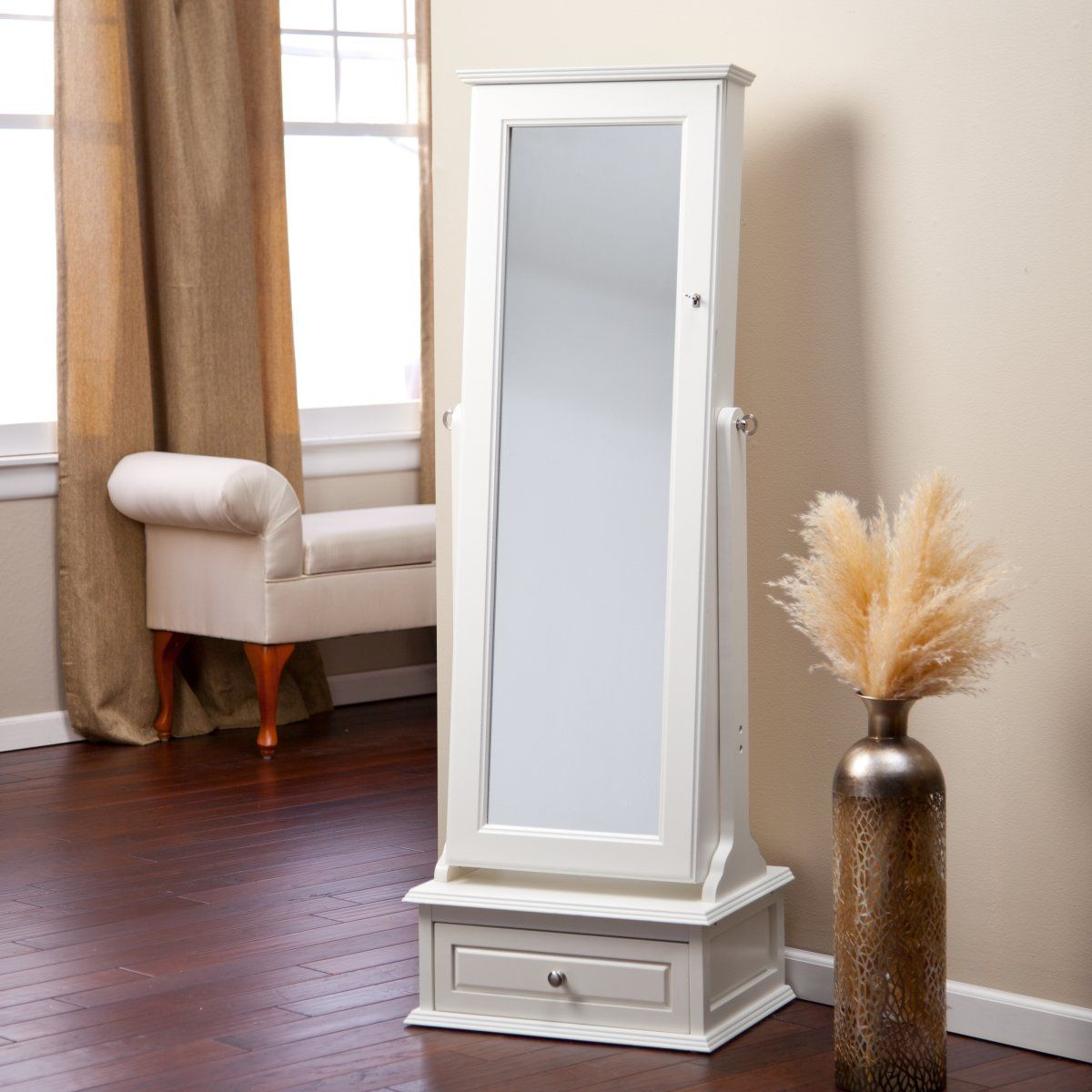 Transitional Cheval Mirror Jewelry Armoire with Base Drawer Off